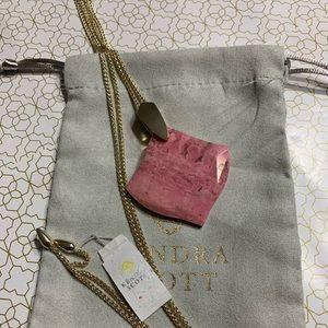 New Kendra Scott Aislinn Necklace Pink Rhodonite